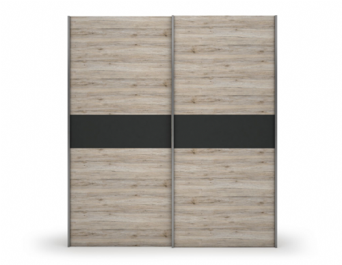 Mona Sliding Door Wardrobe Sand Oak effect with Slate Grey R01 - 2635